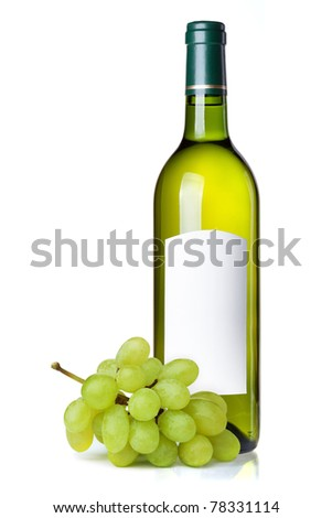 White wine in green bottle with blank label and grapes. Isolated on white background