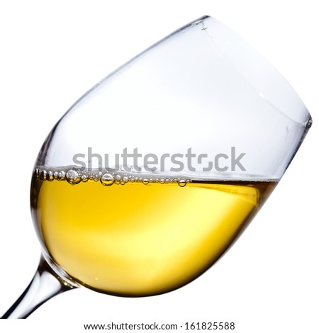 White wine , isolated  on white ,saved clipping path - stock photo