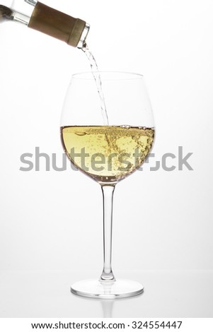 White wine pouring in a glass from a bottle