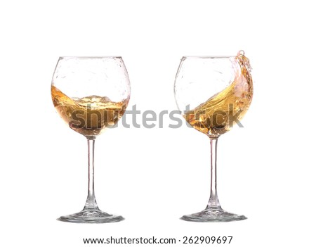 white wine splash before white background