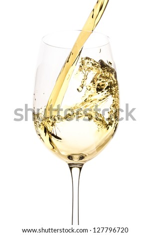 white wine splash isolated on white - stock photo