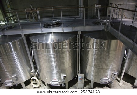 White Wine Stainless Steel Tanks Napa California Trademarks obscured