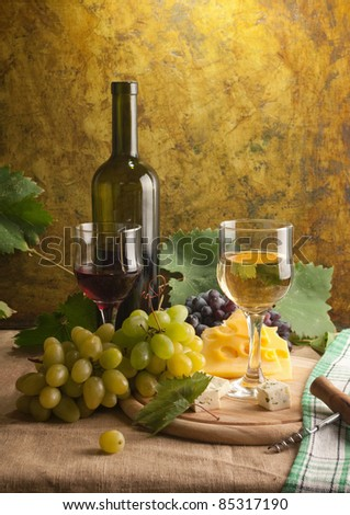 White wine still life in vintage style