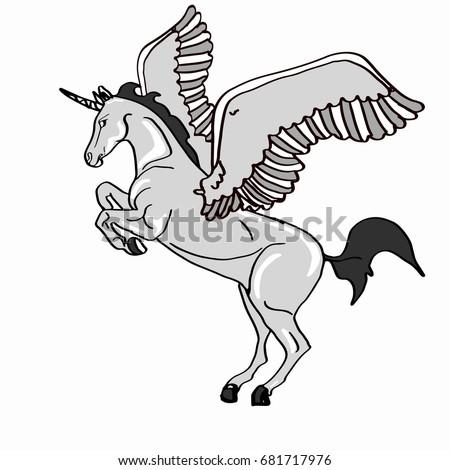 White Winged Unicorn Stock Illustration 681717976 Shutterstock