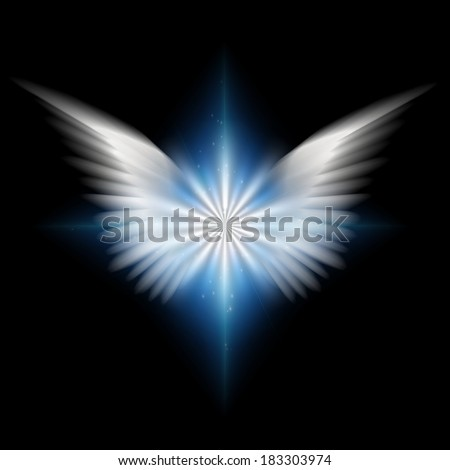 White wings and radiating light - stock photo