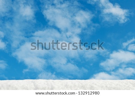 white winter snow and blue sky background - stock photo