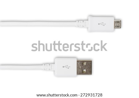 white wire USB micro BM - stock photo