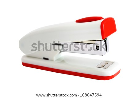 White with a red stapler for the office