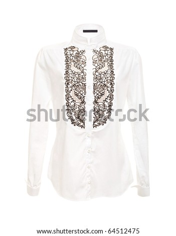 White Women Shirt Isolated on the White Background - stock photo