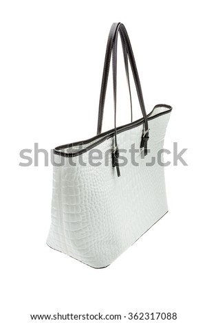 White womens bag isolated on white background. - stock photo
