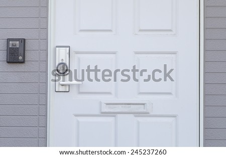 White wood door and brick wall background - stock photo