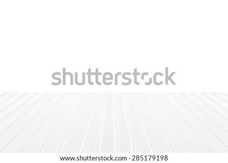 White wood floor isolated. - stock photo