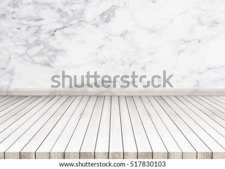 white wood floor with marble stone wall texture texture background also used for display
