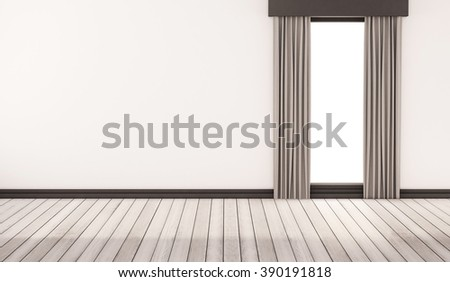 white wood floor with white wall and window with curtains, 3d rendered - stock photo