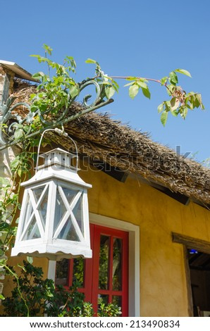 white wood lamp in outdoor of coffee shop at Mae Hong Son,Thailand - stock photo