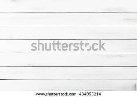 White wood table texture and background. White painted wood texture background. Rustic, shabby chick wooden background. Aged wood planks pattern. Wooden surface. Horizontal timber texture - stock photo