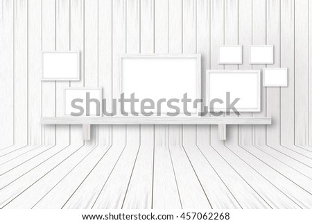 white wooden background with white frames, interior decoration,3D illustration
