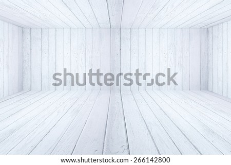 White wooden background with white wooden floor inside interior and carpentry concept - stock photo