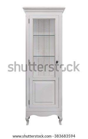 White wooden bookcase furniture isolated on white background - stock photo