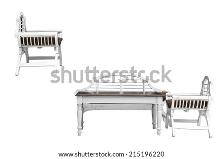 White wooden chair up in the air isolated on white background - stock photo