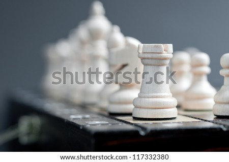 white wooden chess - stock photo