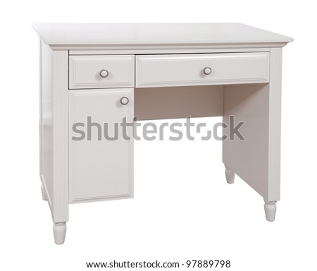 White wooden desk isolated, with clipping path - stock photo
