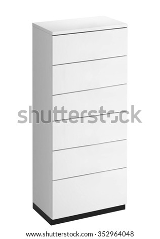 White wooden drawers cabinet - stock photo