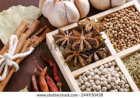 white wooden frame collection of spices