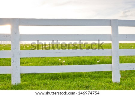 White wooden horse fence on country site at spring. - stock photo