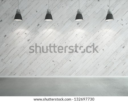 white wooden laminate wall and lamps - stock photo