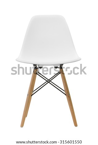 White wooden leg chairs isolated on white background - stock photo