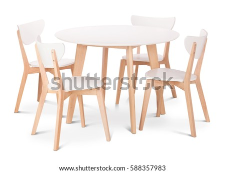 White wooden round dining table with four chairs  Modern designer  dining  table and chairs. Chair Stock Images  Royalty Free Images   Vectors   Shutterstock