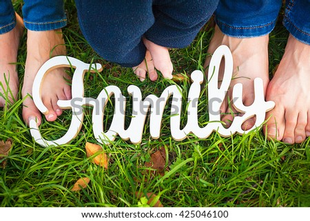 white wooden sign family Wooden word family