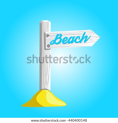 White wooden sign pointing to the beach. - stock photo