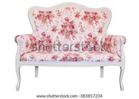 White wooden sofa isolated on white background - stock photo