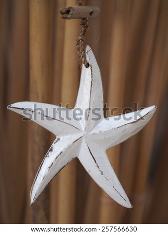 White wooden star with bamboo on the background - stock photo