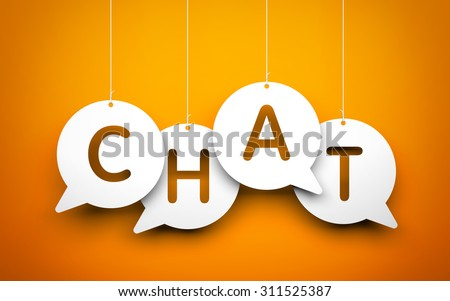 White word Chat suspended by ropes on blue background