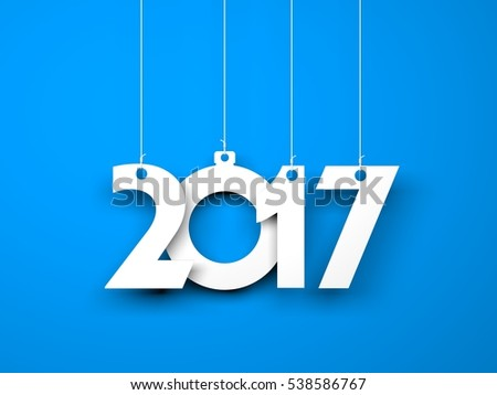 White word 2017 on blue background. New year illustration. 3d illustration