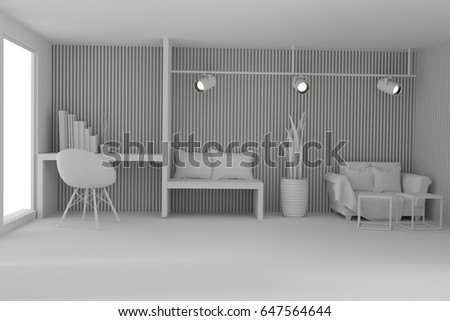 white working and living room in scandinavian interior in 3D rendering