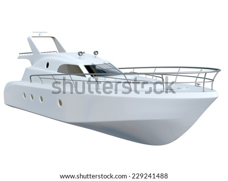 White yacht  isolated on white