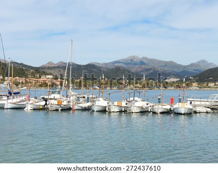 White Yachts And Sail Boats In In The Port Dâ??Andratx, Majorca Island
