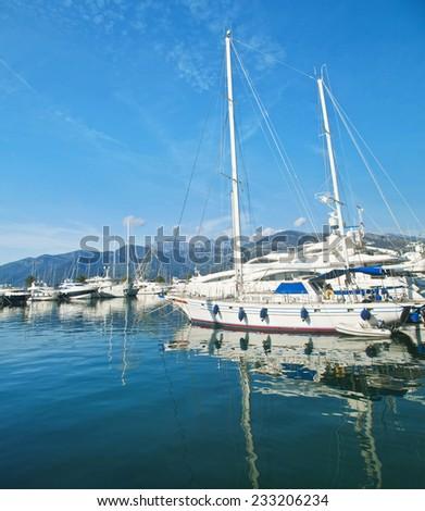 white yachts in Tivat marina, Montenegro - stock photo