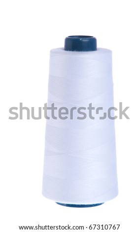 white yarn spool of thread isolated on white background - stock photo
