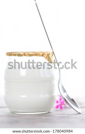 White yogurt in a glass bowl on white background - stock photo