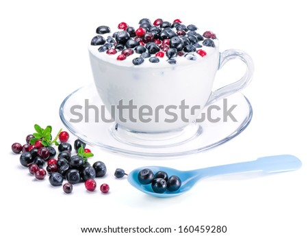 White yogurt with  berries, cowberry and bilberry - stock photo