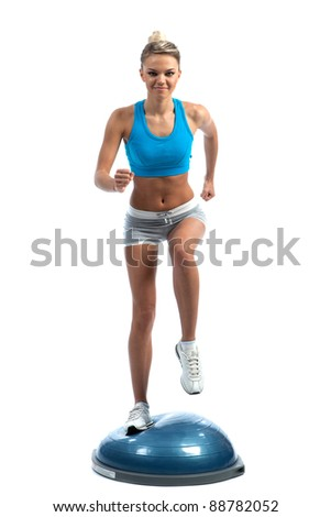white young girl engaged in fitness training