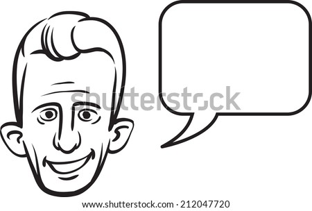 whiteboard drawing - big eared face with speech bubble - stock photo