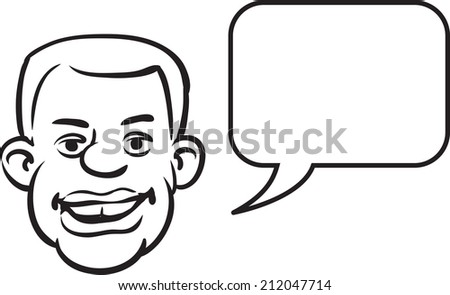 whiteboard drawing - black man face with speech bubble - stock photo