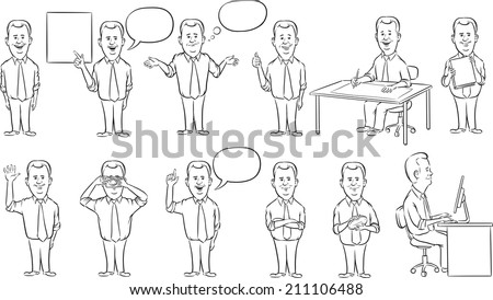 whiteboard drawing - businessman working figures collection - stock photo