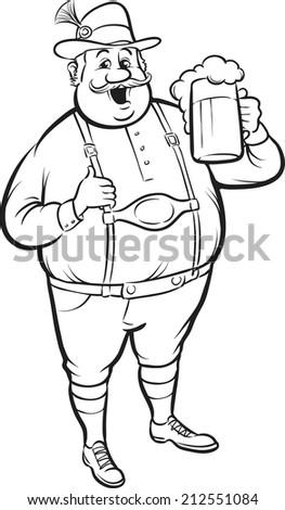 whiteboard drawing - cartoon oktoberfest man with beer - stock photo